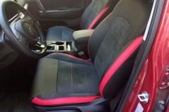 Авточехлы Leather Style для салона Kia Sportage с 2016 красные вставки (MW Brothers)