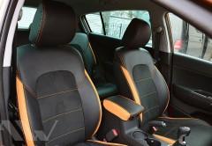 Авточехлы Leather Style для салона Hyundai Tucson с 2015 оранжевые вставки (MW Brothers)
