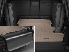 Коврик в багажник для Lexus LX 570 c 2008 (7 мест, длинный) резиновый, бежевый, с накидкой (WeatherTech)