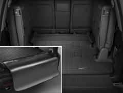 Коврик в багажник для Lexus LX 570 c 2008 (7 мест, длинный) резиновый, черный, с накидкой (WeatherTech)