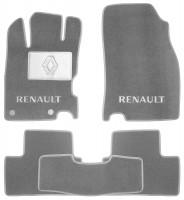 Коврики в салон для Renault Kadjar с 2015, текстильные, серые (Люкс) 2 клипсы