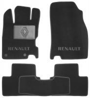 Коврики в салон для Renault Kadjar с 2015, текстильные, черные (Премиум) 2 клипсы