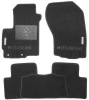 Коврики в салон для Mitsubishi Outlander XL 2007 - 2012 текстильные, черные (Luxury)