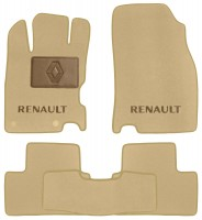 Коврики в салон для Renault Kadjar с 2015, текстильные, бежевые (Премиум) 2 клипсы
