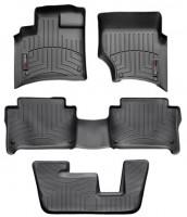 Коврики в салон для Audi Q7 '05-14 черные, резиновые 3D (WeatherTech) 1+2+3 ряд