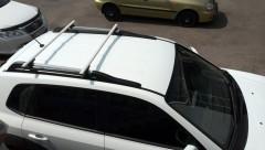 Багажник на рейлинги для Hyundai Tucson '03-09, аэродинамический алюминиевый, сквозной (Десна-Авто)