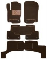 Коврики в салон для Mercedes GL/GLS X166 '12- текстильные, коричневые (Премиум) 1+2+3 ряд, 8 клипс