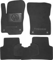 Коврики в салон для Volkswagen Tiguan '16- текстильные, черные (Премиум) 4 клипсы