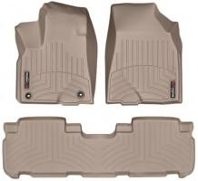 Коврики в салон для Toyota Highlander '14- резиновые, бежевые 3D (Weathertech)
