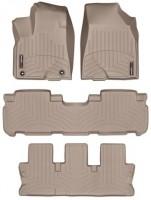 Коврики в салон для Toyota Highlander '14- резиновые, бежевые 3D (Weathertech) 1+2+3 ряд