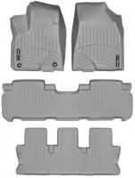 Коврики в салон для Toyota Highlander '14- резиновые, серые 3D (Weathertech) 1+2+3 ряд