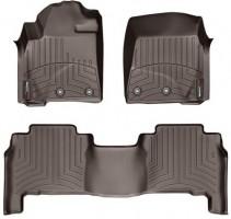 Коврики в салон для Toyota Land Cruiser 200 '13- резиновые, коричневые 3D (Weathertech)