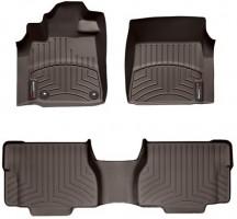 Коврики в салон для Toyota Sequoia '13- резиновые, коричневые 3D (WeatherTech)