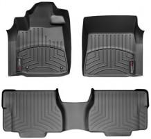 Коврики в салон для Toyota Sequoia '08-12 с центр. консолью, резиновые, черные 3D (WeatherTech)