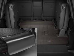 Коврик в багажник для Toyota Land Cruiser 200 '07- (7 мест), резиновый, коричневый, с накидкой (Weathertech)