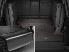 Коврик в багажник для Lexus LX 570 '08- (7 мест, длинный) резиновый, коричневый, с накидкой (Weathertech)