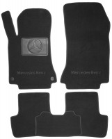 Коврики в салон для Mercedes GLA X156 '13- текстильные, черные (Премиум) 2 клипсы