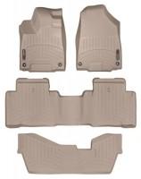 Коврики в салон для Acura MDX '14- бежевые, резиновые 3D (WeatherTech) 1+2+3 ряд