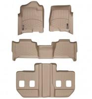 Коврики в салон для Cadillac Escalade III '07-13 бежевые, резиновые 3D (WeatherTech) ESV 1+2+3 ряд