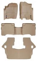 Коврики в салон для Infiniti QX56 '04-10 бежевые, резиновые 3D (WeatherTech) 1+2+3 ряд