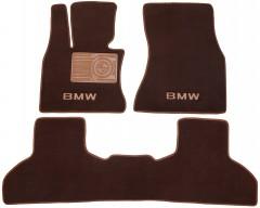 Коврики в салон для BMW X5 F15 '14- текстильные, коричневые (Премиум)