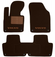 Коврики в салон для Volvo XC 90 '15- текстильные, коричневые (Премиум) 8 клипс