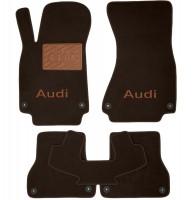 Коврики в салон для Audi A6 '14- текстильные, коричневые (Премиум) 8 клипс