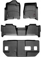 Коврики в салон для Cadillac Escalade III '07-13, ESV, 3-й ряд цельное сидение, черные, резиновые 3D (WeatherTech) 1+2+3 ряд