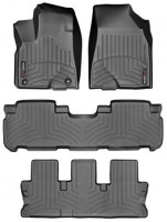 Коврики в салон для Toyota Highlander '14-, черные, резиновые 3D (WeatherTech) 1+2+3 ряд