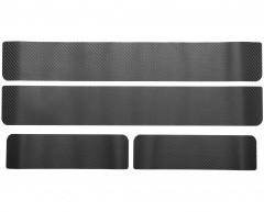 Наклейки на пороги для Opel Astra H '04-09, хэтчбек/универсал, карбон, черные (NataNiko)