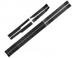 Наклейки на пороги для Skoda Octavia A5 '05-13, карбон, черные (NataNiko)