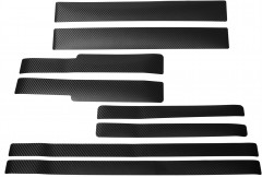 Наклейки на пороги для Skoda Octavia A7 '13-, карбон, черные (NataNiko)