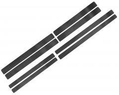 Наклейки на пороги для Volkswagen Touran '10-15, карбон, черные (NataNiko)