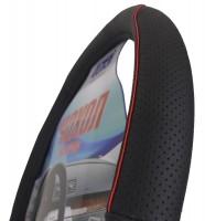 Фото 2 - Чехол на руль черный с перфорированными вставками + красная нить, кожа VNW1615 M