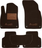 Коврики в салон для Audi Q7 '15- текстильные, коричневые (Премиум) 8 клипс