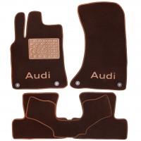 Коврики в салон для Audi Q5 '08-17 текстильные, коричневые (Премиум) 4 клипсы