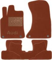Коврики в салон для Audi Q5 '08-17 текстильные, терракотовые (Премиум) 4 клипсы