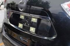 Накладка на крышку багажника вокруг номерного знака для Nissan X-Trail (T32) '14-,  хром (ASP)