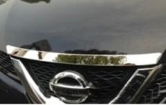 Накладка на капот для Nissan X-Trail (T32) '14-,  Short, хром, нержавеющая сталь (ASP)