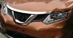 Накладка на капот для Nissan X-Trail (T32) '14-, Long, хром, ABS (ASP)