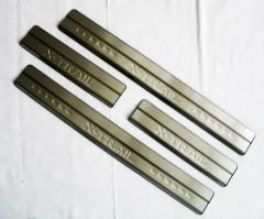 Фото 1 - Накладки на пороги для Nissan X-Trail (T32) '14-, нержавеющая сталь, тип С  (ASP)
