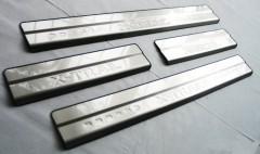 Фото 3 - Накладки на пороги для Nissan X-Trail (T32) '14-, нержавеющая сталь, тип С  (ASP)