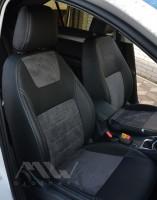 Авточехлы Leather Style для салона Skoda Octavia A7 '17-, серая строчка (MW Brothers)