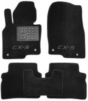Коврики в салон для Mazda CX-5 '17-, текстильные, черные (Люкс) 4 клипсы