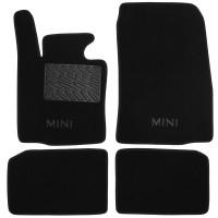 Коврики в салон для Mini Countryman '10-16 текстильные, черные (Люкс) 2 клипсы