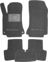 Коврики в салон для Mercedes GLA X156 '13-, текстильные, серые (Люкс) 2 клипсы