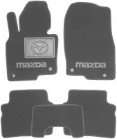 Коврики в салон для Mazda CX-5 '17-, текстильные, серые (Люкс) 4 клипсы