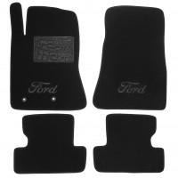 Коврики в салон для Ford Mustang '15-, текстильные, черные (Люкс) 2 клипсы