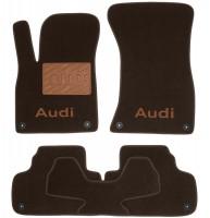 Коврики в салон для Audi Q5 '17- текстильные, коричневые (Премиум) 8 клипс