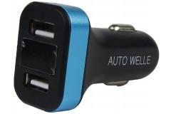 Адаптер USB автомобильный 12V/24V 2,1/1А черный (AUTO-WELLE) AW06-16B